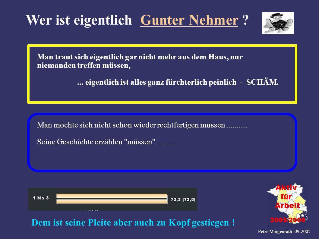 Peter Morgenroth 09-2005 Wer ist eigentlich Gunter Nehmer ? Man traut sich eigentlich gar nicht mehr aus dem Haus, nur niemanden treffen müssen,... ei