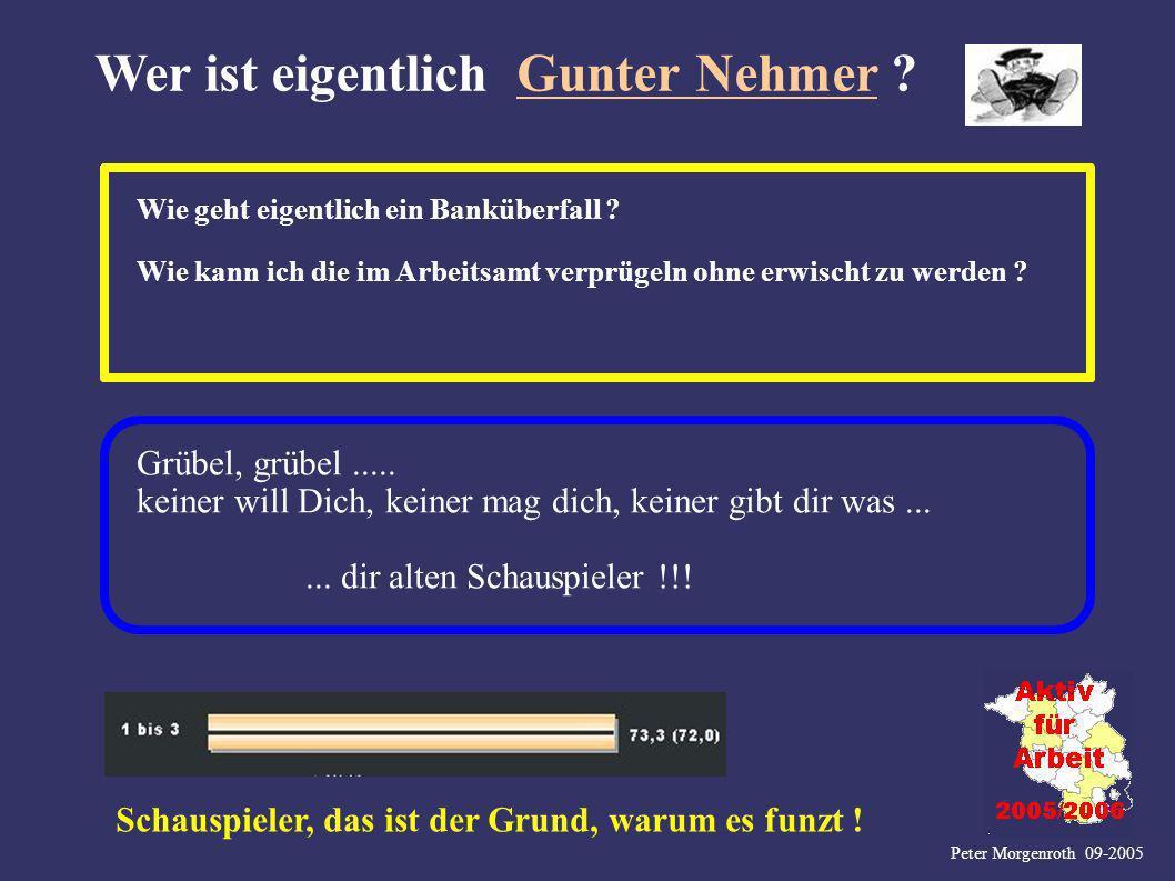 Peter Morgenroth 09-2005 Wer ist eigentlich Gunter Nehmer ? Wie geht eigentlich ein Banküberfall ? Wie kann ich die im Arbeitsamt verprügeln ohne erwi