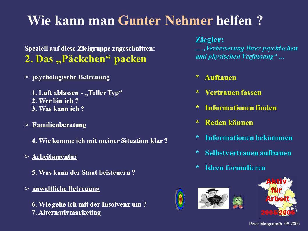 Peter Morgenroth 09-2005 Wie kann man Gunter Nehmer helfen ? Speziell auf diese Zielgruppe zugeschnitten: 2. Das Päckchen packen Ziegler:... Verbesser