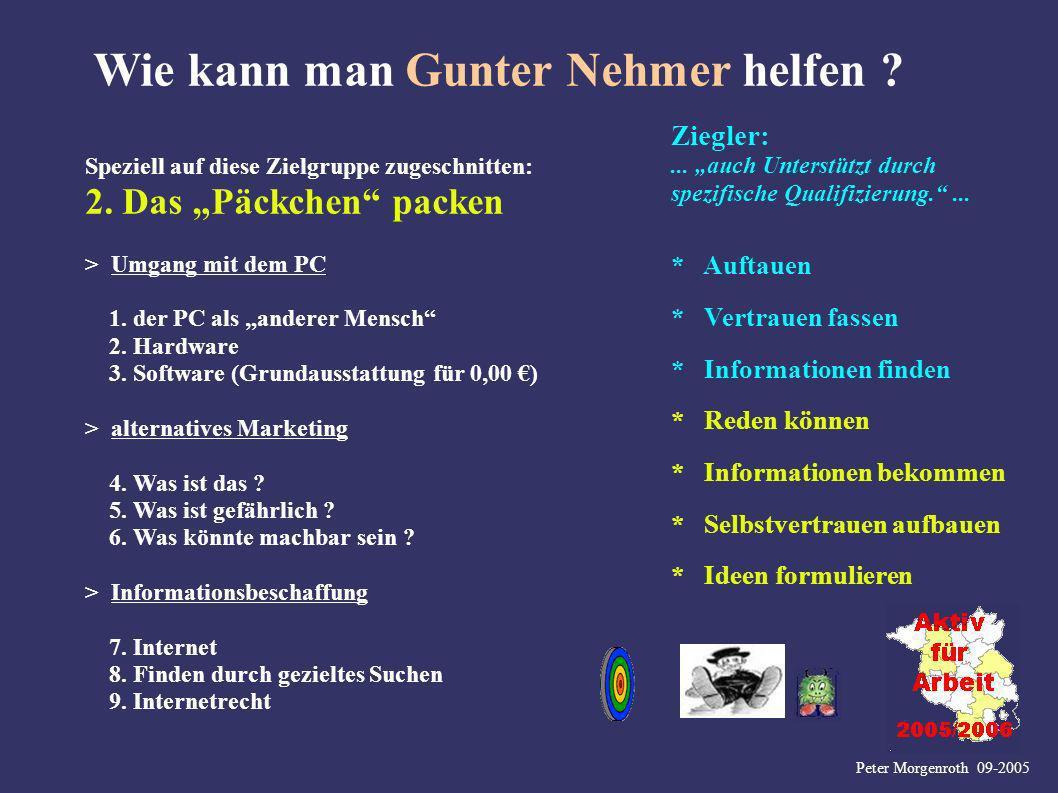 Peter Morgenroth 09-2005 Wie kann man Gunter Nehmer helfen ? Speziell auf diese Zielgruppe zugeschnitten: 2. Das Päckchen packen Ziegler:... auch Unte