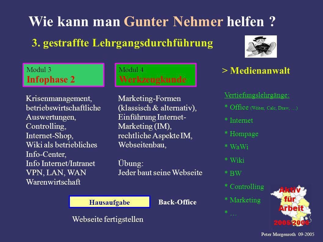 Peter Morgenroth 09-2005 Wie kann man Gunter Nehmer helfen ? Hausaufgabe Modul 3 Infophase 2 Modul 4 Werkzeugkunde 3. gestraffte Lehrgangsdurchführung