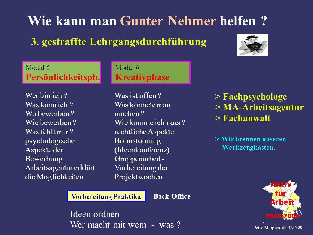 Peter Morgenroth 09-2005 Wie kann man Gunter Nehmer helfen ? Modul 5 Persönlichkeitsph. Modul 6 Kreativphase 3. gestraffte Lehrgangsdurchführung Vorbe