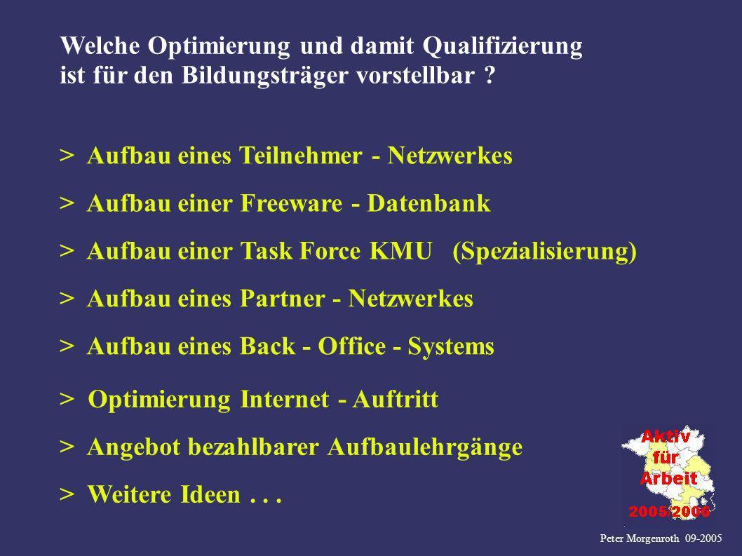 > Aufbau eines Teilnehmer - Netzwerkes Peter Morgenroth 09-2005 Welche Optimierung und damit Qualifizierung ist für den Bildungsträger vorstellbar ? >