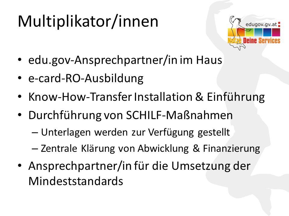 15 Multiplikator/innen edu.gov-Ansprechpartner/in im Haus e-card-RO-Ausbildung Know-How-Transfer Installation & Einführung Durchführung von SCHILF-Maß
