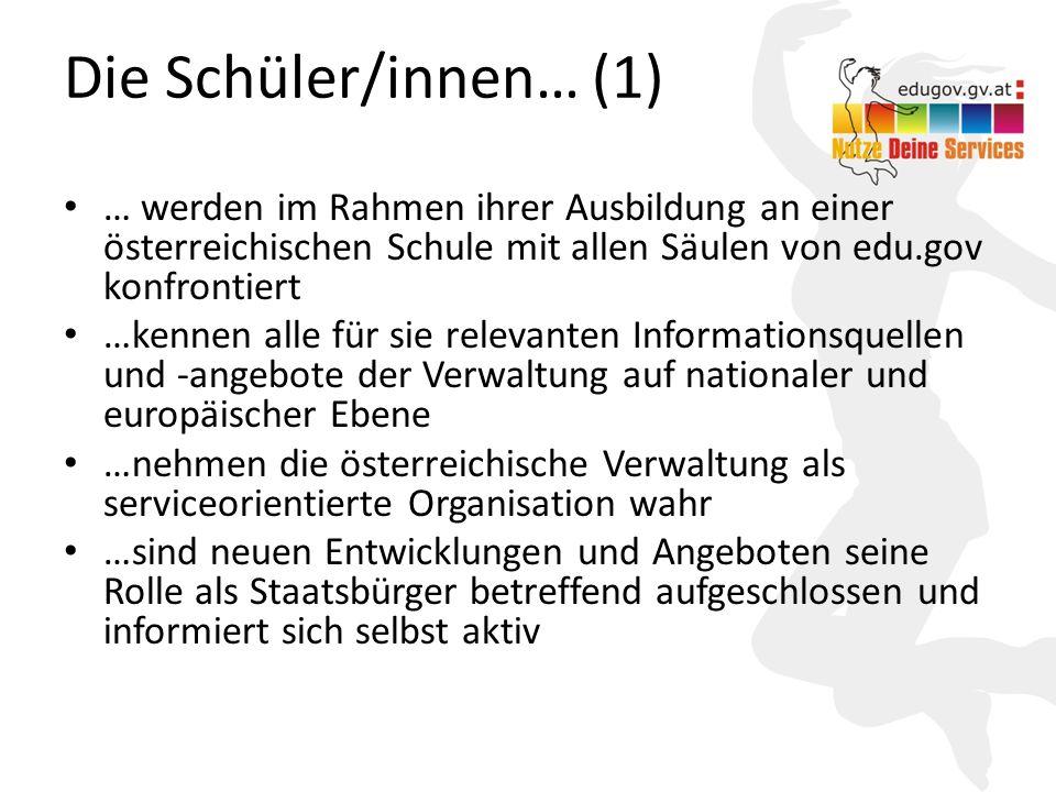 5 Die Schüler/innen… (1) … werden im Rahmen ihrer Ausbildung an einer österreichischen Schule mit allen Säulen von edu.gov konfrontiert …kennen alle f