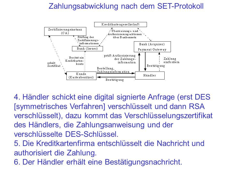 Zahlungsabwicklung nach dem SET-Protokoll 4. Händler schickt eine digital signierte Anfrage (erst DES [symmetrisches Verfahren] verschlüsselt und dann