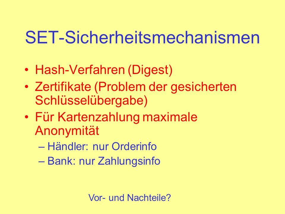 SET-Sicherheitsmechanismen Hash-Verfahren (Digest) Zertifikate (Problem der gesicherten Schlüsselübergabe) Für Kartenzahlung maximale Anonymität –Händ