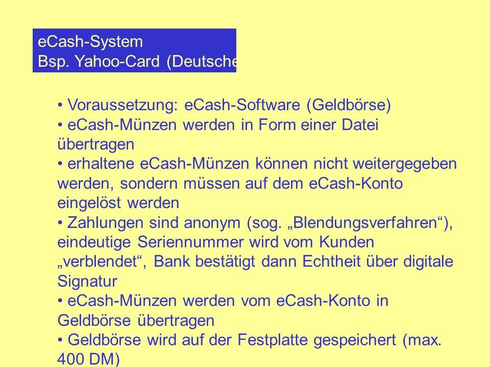 eCash-System Bsp. Yahoo-Card (Deutsche Bank) Voraussetzung: eCash-Software (Geldbörse) eCash-Münzen werden in Form einer Datei übertragen erhaltene eC
