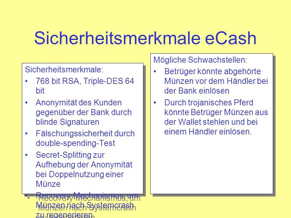 Sicherheitsmerkmale eCash Sicherheitsmerkmale: 768 bit RSA, Triple-DES 64 bit Anonymität des Kunden gegenüber der Bank durch blinde Signaturen Fälschu