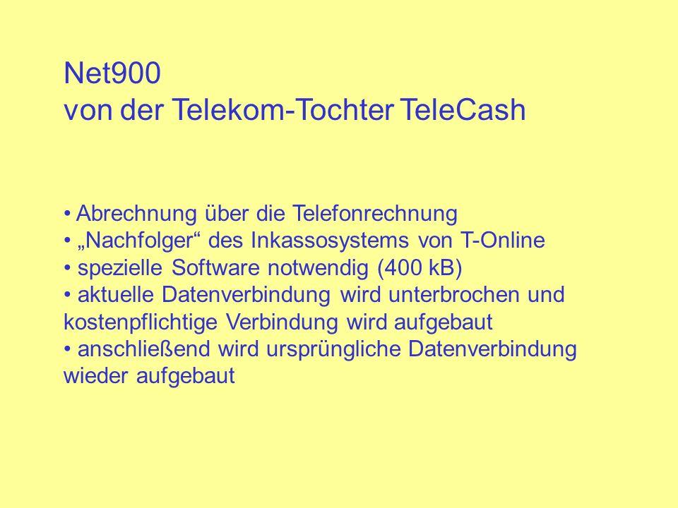 Net900 von der Telekom-Tochter TeleCash Abrechnung über die Telefonrechnung Nachfolger des Inkassosystems von T-Online spezielle Software notwendig (4