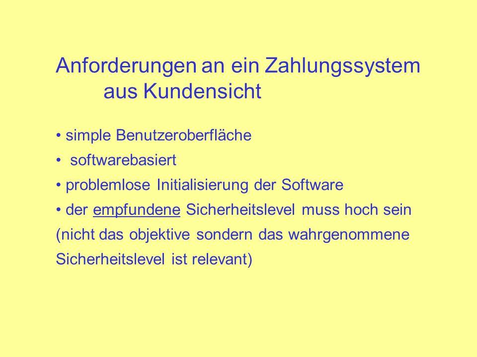 Anforderungen an ein Zahlungssystem aus Kundensicht simple Benutzeroberfläche softwarebasiert problemlose Initialisierung der Software der empfundene