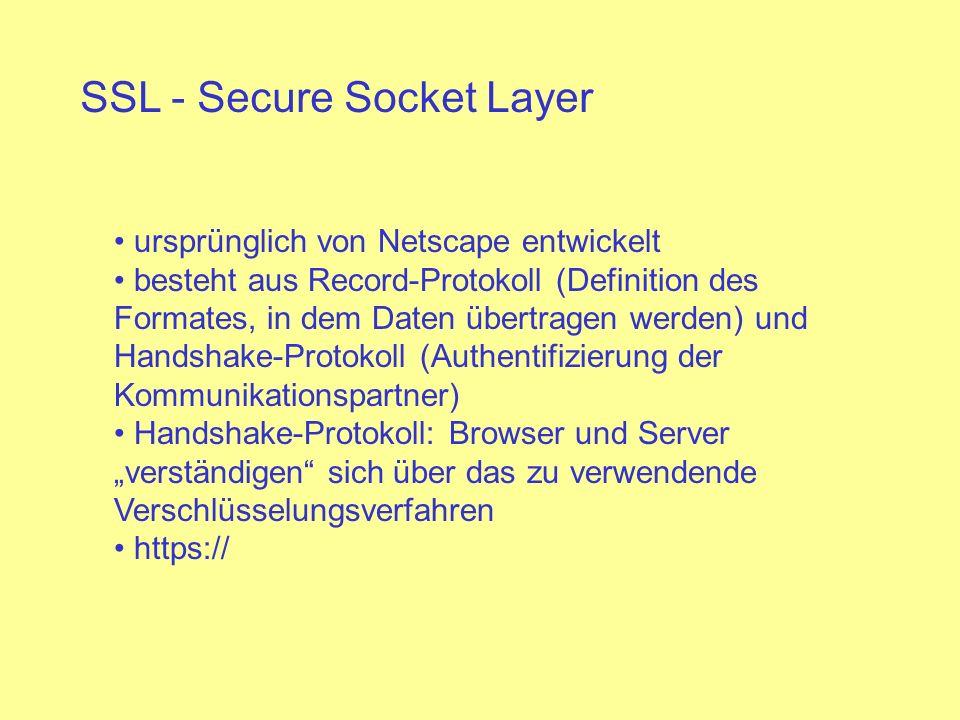 SSL - Secure Socket Layer ursprünglich von Netscape entwickelt besteht aus Record-Protokoll (Definition des Formates, in dem Daten übertragen werden)