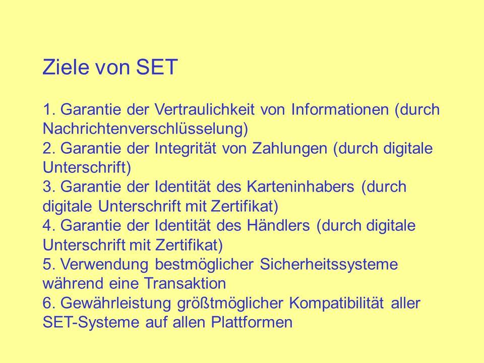 Ziele von SET 1. Garantie der Vertraulichkeit von Informationen (durch Nachrichtenverschlüsselung) 2. Garantie der Integrität von Zahlungen (durch dig