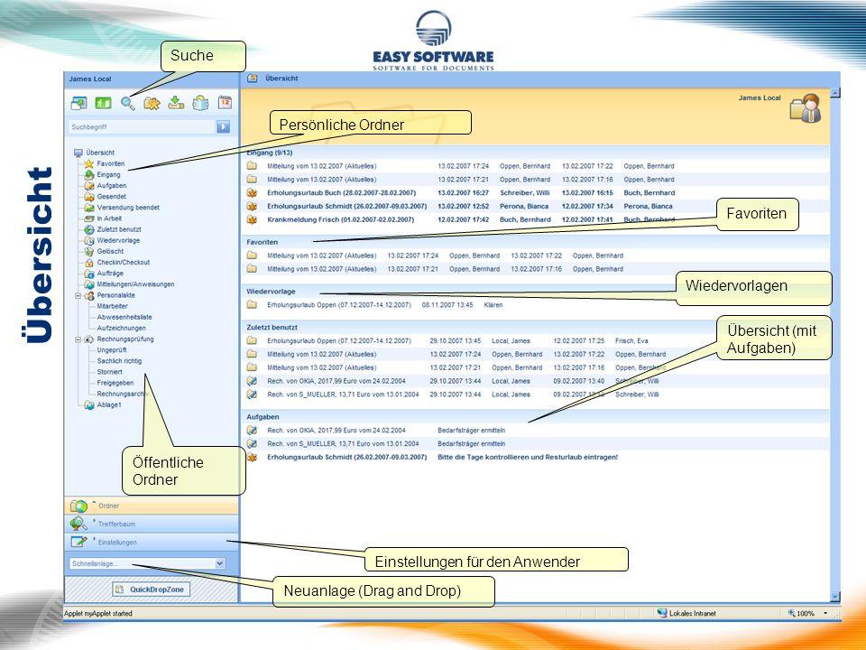 Übersicht Persönliche Ordner Öffentliche Ordner Einstellungen für den Anwender Suche Neuanlage (Drag and Drop) Übersicht (mit Aufgaben) Wiedervorlagen