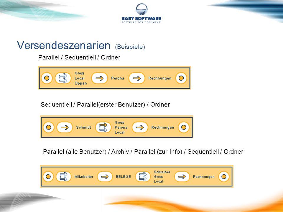 Versendeszenarien (Beispiele) Parallel / Sequentiell / Ordner Sequentiell / Parallel(erster Benutzer) / Ordner Parallel (alle Benutzer) / Archiv / Par