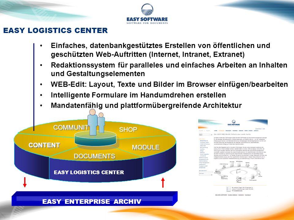 EASY LOGISTICS CENTER DOCUMENTS SHOP CONTENT COMMUNITY MODULE EASY ENTERPRISE ARCHIV Einfaches, datenbankgestütztes Erstellen von öffentlichen und ges