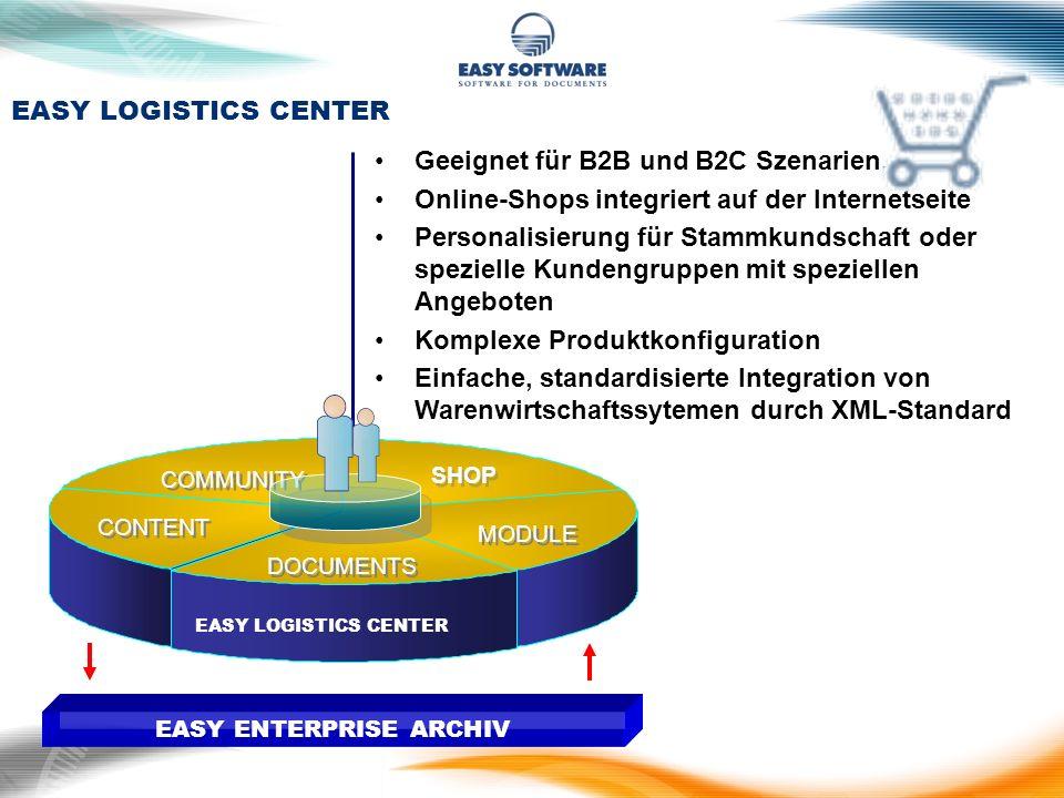 SHOP EASY LOGISTICS CENTER DOCUMENTS CONTENT COMMUNITY MODULE EASY ENTERPRISE ARCHIV Geeignet für B2B und B2C Szenarien. Online-Shops integriert auf d