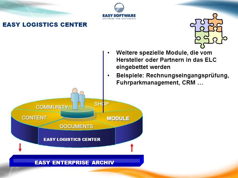 DOCUMENTS SHOP CONTENT COMMUNITY MODULE EASY ENTERPRISE ARCHIV Weitere spezielle Module, die vom Hersteller oder Partnern in das ELC eingebettet werde