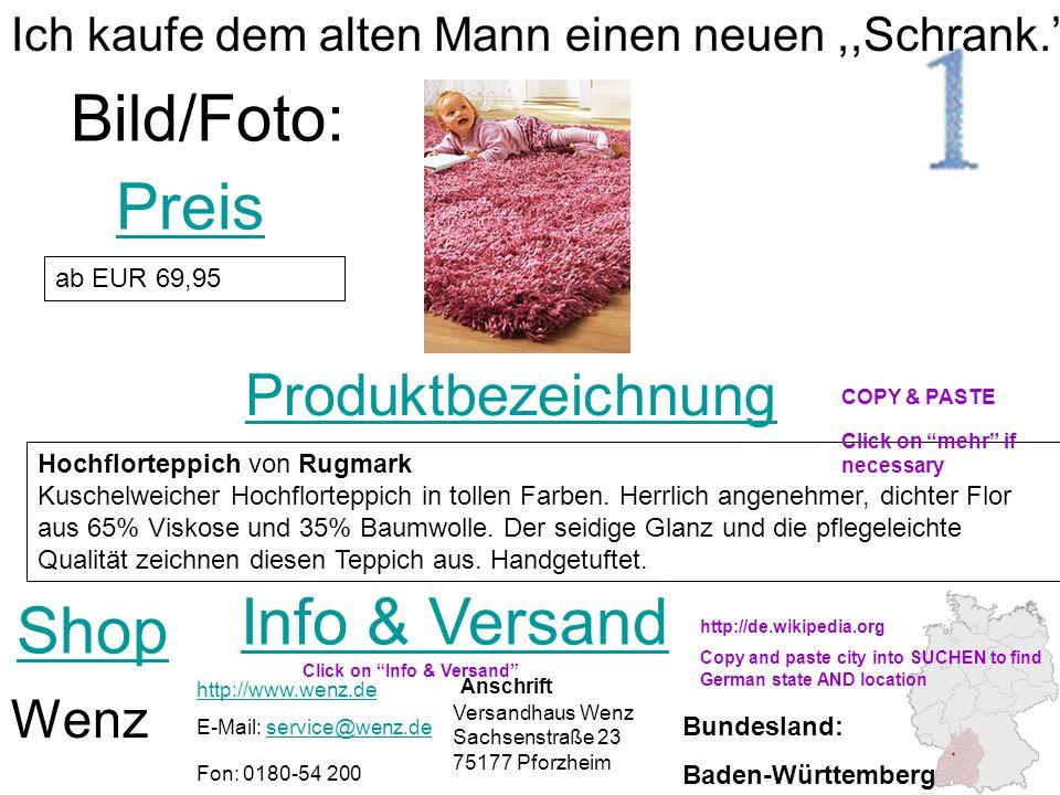 Produktbezeichnung Shop Preis Bild/Foto: Wenz Info & Versand http://www.wenz.de E-Mail: service@wenz.deservice@wenz.de Fon: 0180-54 200 ab EUR 69,95 I