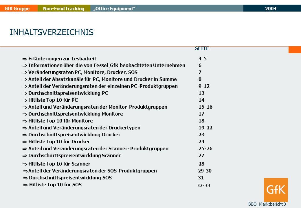 2004 GfK GruppeOffice EquipmentNon-Food Tracking BBO_Marktbericht 3 INHALTSVERZEICHNIS Seite Erläuterungen zur Lesbarkeit 4-5 Informationen über die v