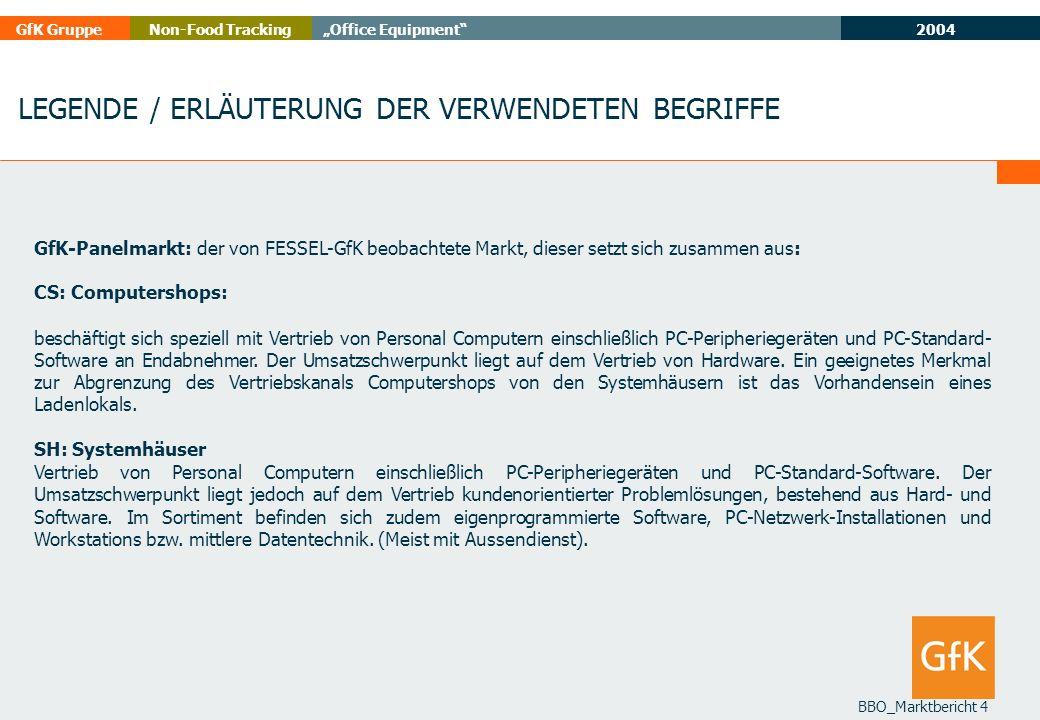 2004 GfK GruppeOffice EquipmentNon-Food Tracking BBO_Marktbericht 4 GfK-Panelmarkt: der von FESSEL-GfK beobachtete Markt, dieser setzt sich zusammen a