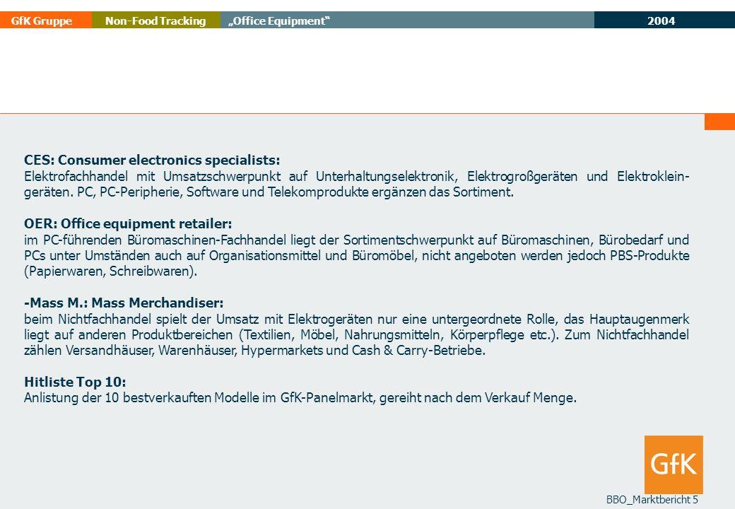 2004 GfK GruppeOffice EquipmentNon-Food Tracking BBO_Marktbericht 5 CES: Consumer electronics specialists: Elektrofachhandel mit Umsatzschwerpunkt auf