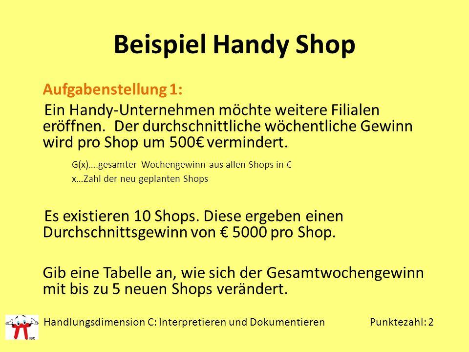 Beispiel Handy Shop Aufgabenstellung 1: Ein Handy-Unternehmen möchte weitere Filialen eröffnen. Der durchschnittliche wöchentliche Gewinn wird pro Sho