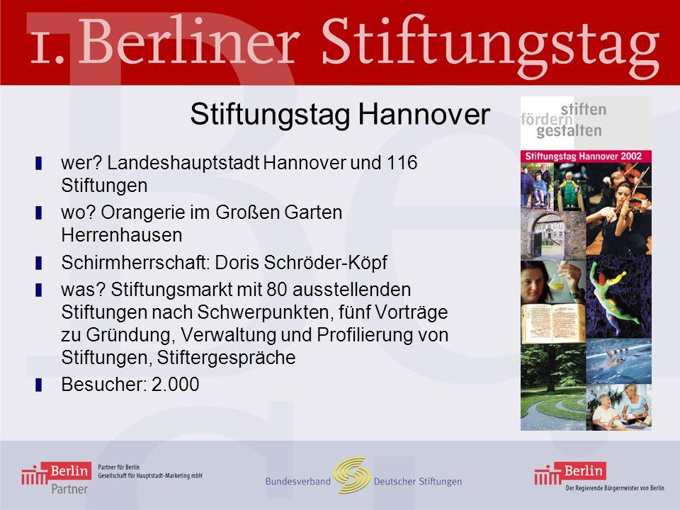 Stiftungstag Hannover wer? Landeshauptstadt Hannover und 116 Stiftungen wo? Orangerie im Großen Garten Herrenhausen Schirmherrschaft: Doris Schröder-K