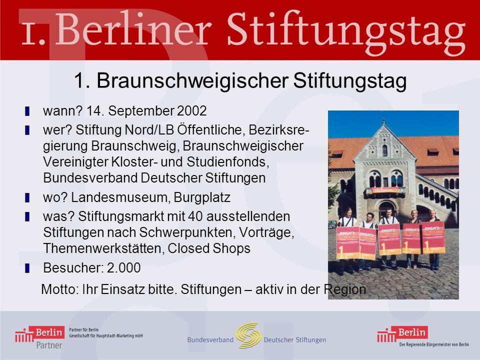 1. Braunschweigischer Stiftungstag wann? 14. September 2002 wer? Stiftung Nord/LB Öffentliche, Bezirksre- gierung Braunschweig, Braunschweigischer Ver