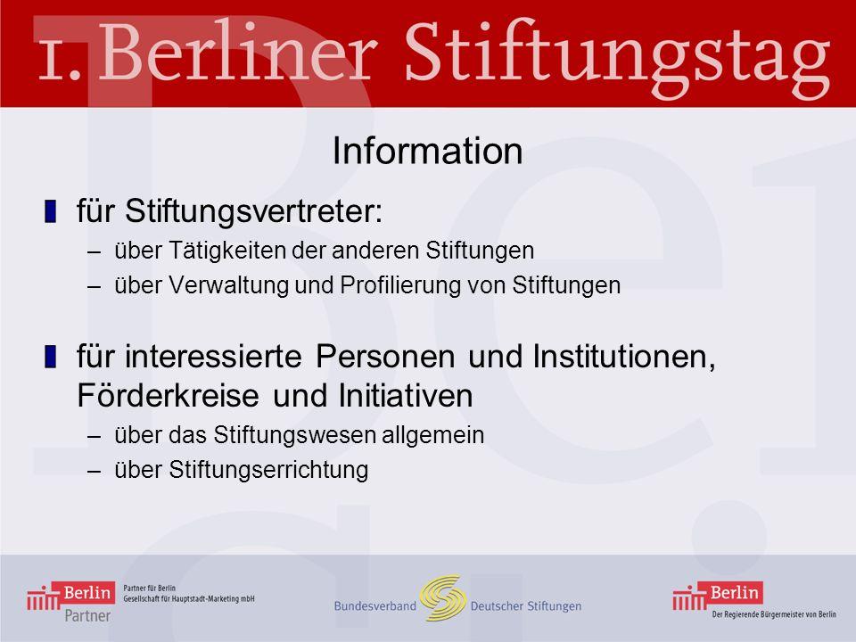 Information für Stiftungsvertreter: –über Tätigkeiten der anderen Stiftungen –über Verwaltung und Profilierung von Stiftungen für interessierte Person