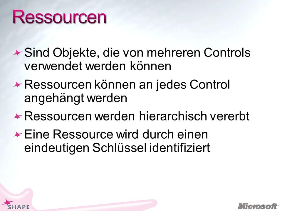 Sind Objekte, die von mehreren Controls verwendet werden können Ressourcen können an jedes Control angehängt werden Ressourcen werden hierarchisch vererbt Eine Ressource wird durch einen eindeutigen Schlüssel identifiziert