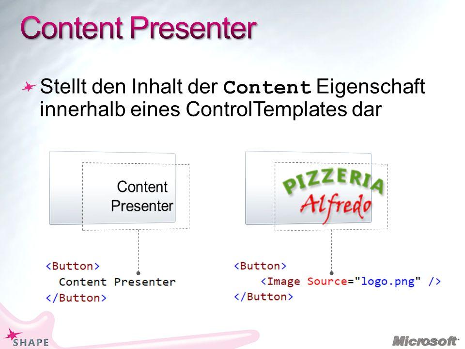 Stellt den Inhalt der Content Eigenschaft innerhalb eines ControlTemplates dar