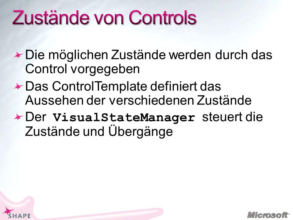 Die möglichen Zustände werden durch das Control vorgegeben Das ControlTemplate definiert das Aussehen der verschiedenen Zustände Der VisualStateManager steuert die Zustände und Übergänge