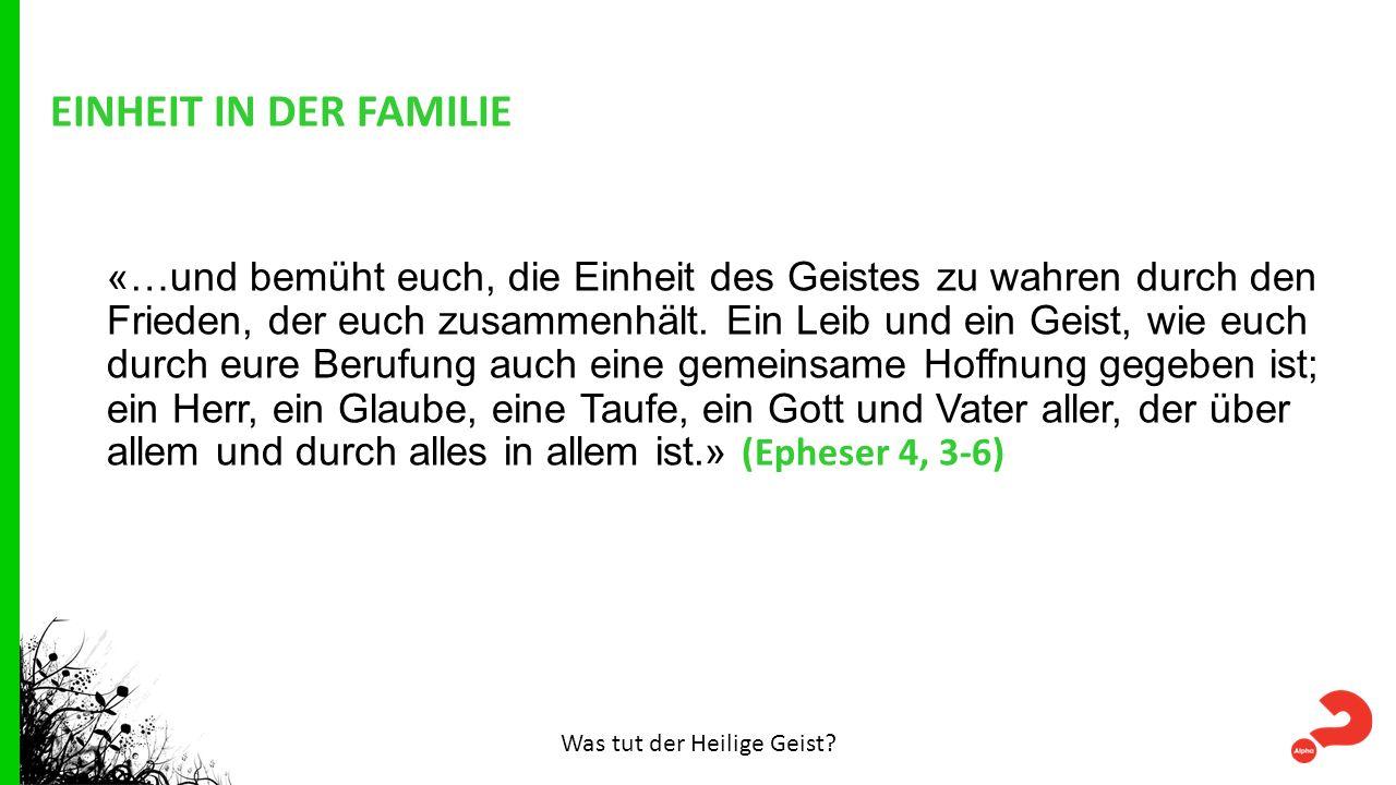 EINHEIT IN DER FAMILIE «…und bemüht euch, die Einheit des Geistes zu wahren durch den Frieden, der euch zusammenhält.