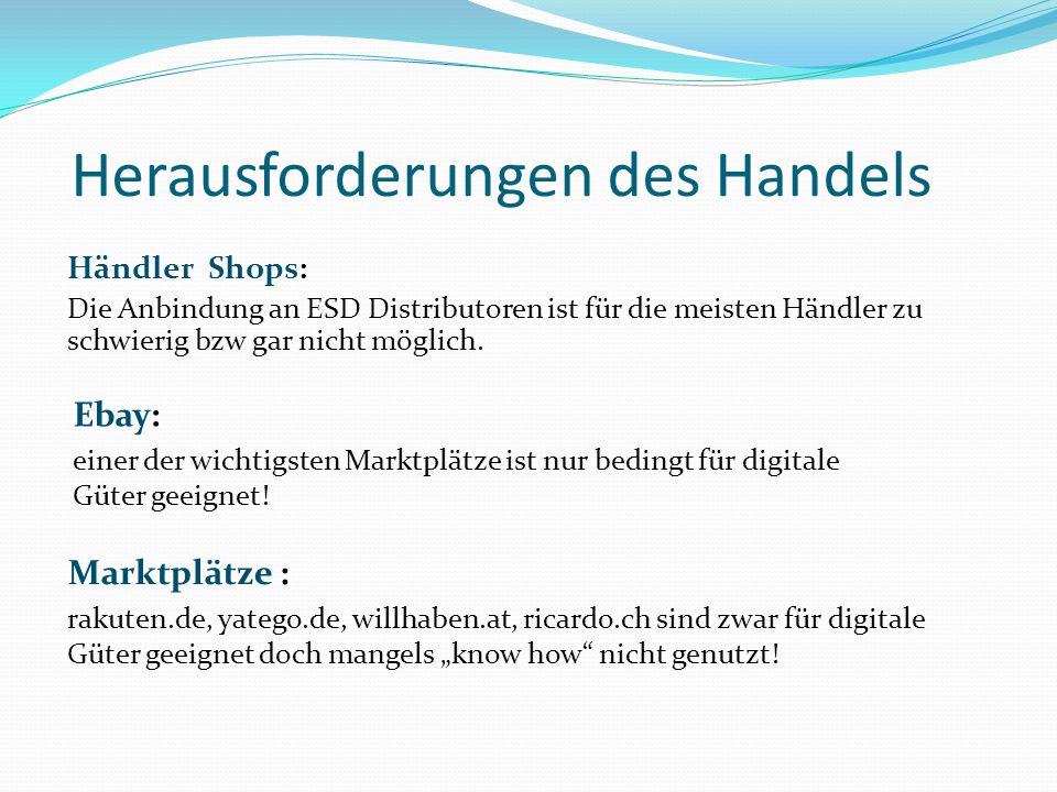 Herausforderungen des Handels Ebay: einer der wichtigsten Marktplätze ist nur bedingt für digitale Güter geeignet! Marktplätze : rakuten.de, yatego.de