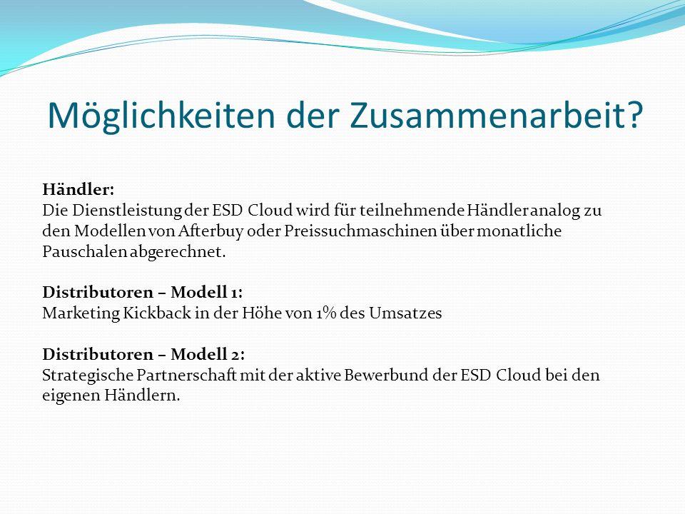 Möglichkeiten der Zusammenarbeit? Händler: Die Dienstleistung der ESD Cloud wird für teilnehmende Händler analog zu den Modellen von Afterbuy oder Pre