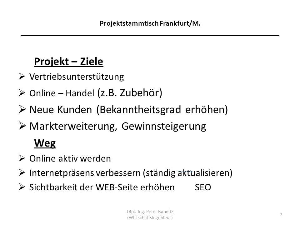 Projektstammtisch Frankfurt/M. _____________________________________________________________________ Projekt – Ziele Vertriebsunterstützung Online – H