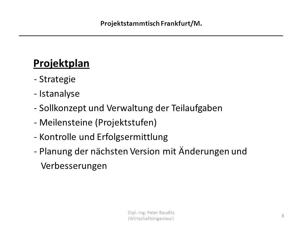 Projektstammtisch Frankfurt/M. ______________________________________________________________________ Projektplan - Strategie - Istanalyse - Sollkonze