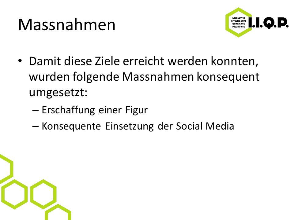 Massnahmen Damit diese Ziele erreicht werden konnten, wurden folgende Massnahmen konsequent umgesetzt: – Erschaffung einer Figur – Konsequente Einsetzung der Social Media
