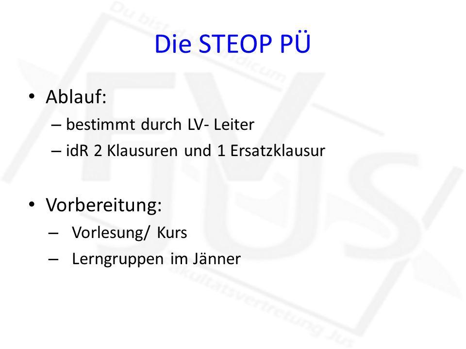 Die STEOP PÜ Ablauf: – bestimmt durch LV- Leiter – idR 2 Klausuren und 1 Ersatzklausur Vorbereitung: – Vorlesung/ Kurs – Lerngruppen im Jänner