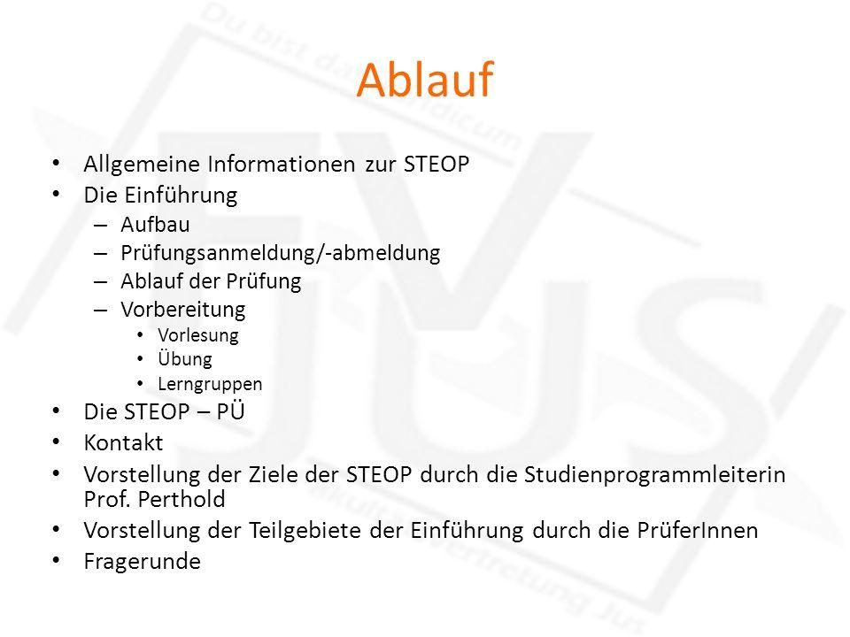 Ablauf Allgemeine Informationen zur STEOP Die Einführung – Aufbau – Prüfungsanmeldung/-abmeldung – Ablauf der Prüfung – Vorbereitung Vorlesung Übung L