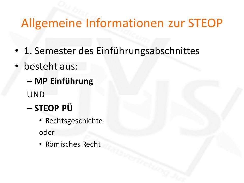 Allgemeine Informationen zur STEOP 1. Semester des Einführungsabschnittes besteht aus: – MP Einführung UND – STEOP PÜ Rechtsgeschichte oder Römisches