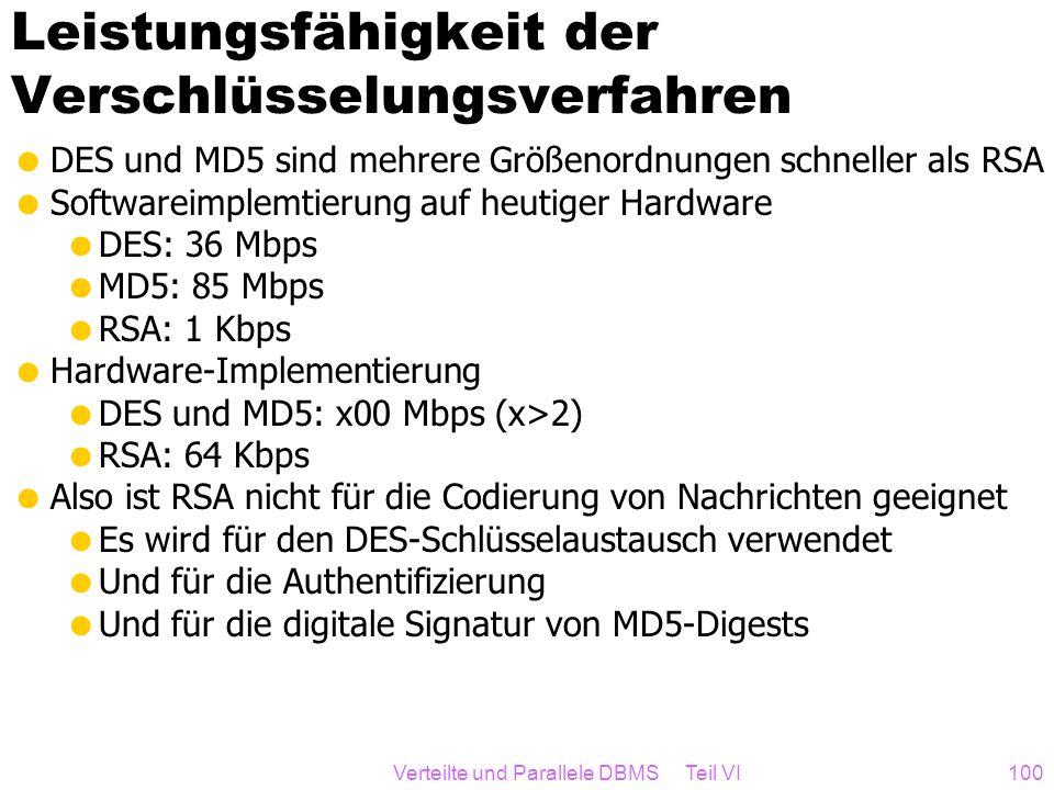 Verteilte und Parallele DBMS Teil VI100 Leistungsfähigkeit der Verschlüsselungsverfahren DES und MD5 sind mehrere Größenordnungen schneller als RSA So