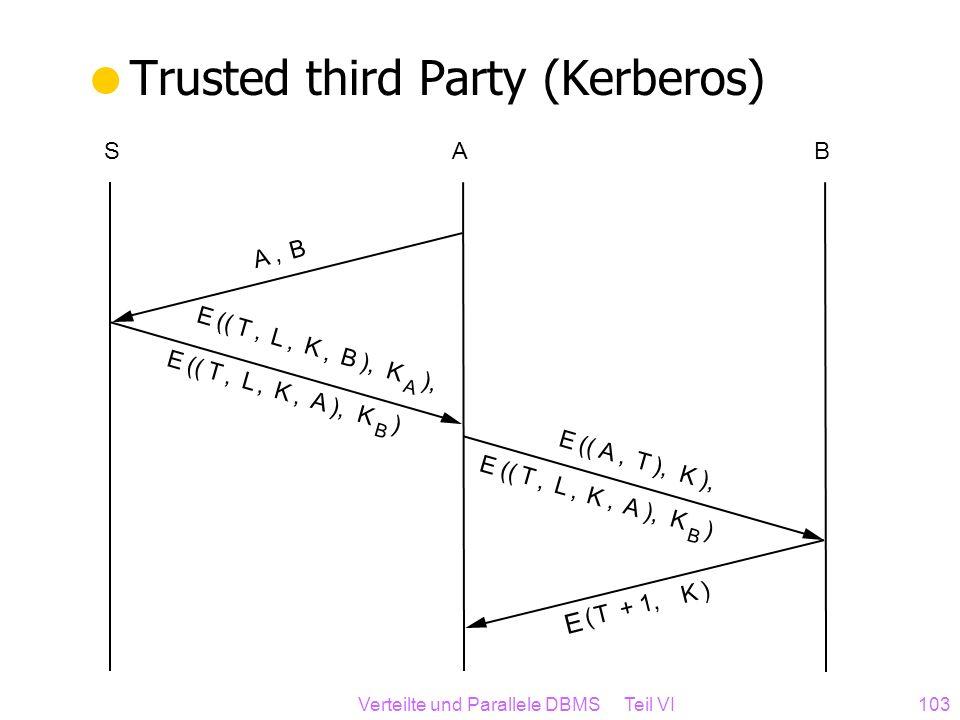 Verteilte und Parallele DBMS Teil VI103 Trusted third Party (Kerberos) ASB E (( T, L, K, B ), K A E (( A, T ), K E (( T, L, K, A ), K B ) A, B E ( T +