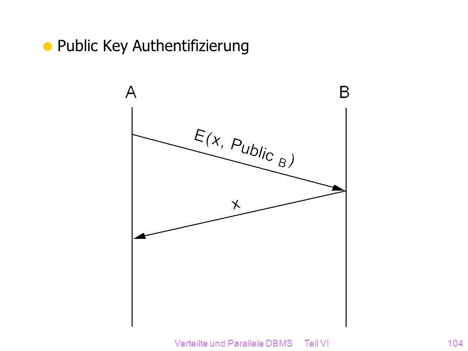 Verteilte und Parallele DBMS Teil VI104 Public Key Authentifizierung