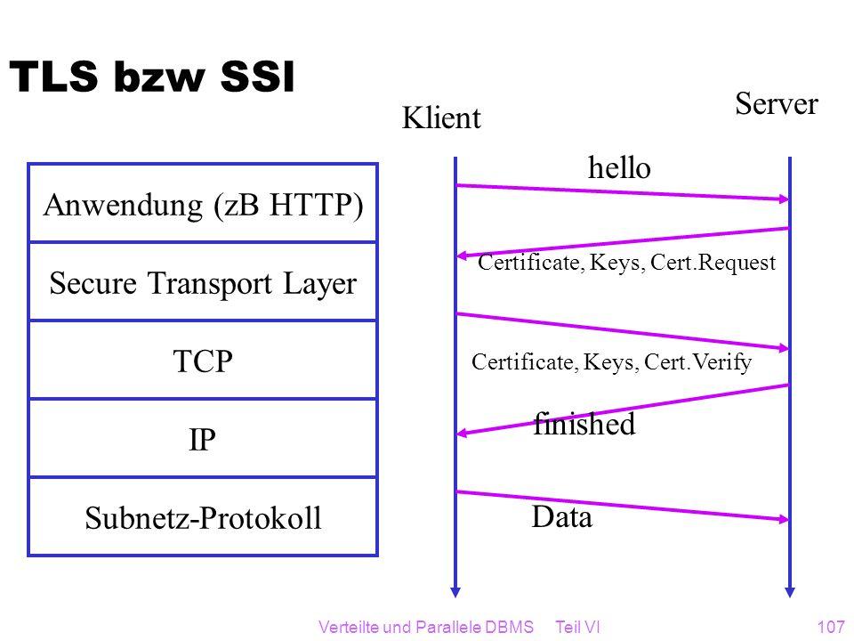Verteilte und Parallele DBMS Teil VI107 TLS bzw SSl Subnetz-Protokoll IP TCP Secure Transport Layer Anwendung (zB HTTP) Klient Server hello Certificat