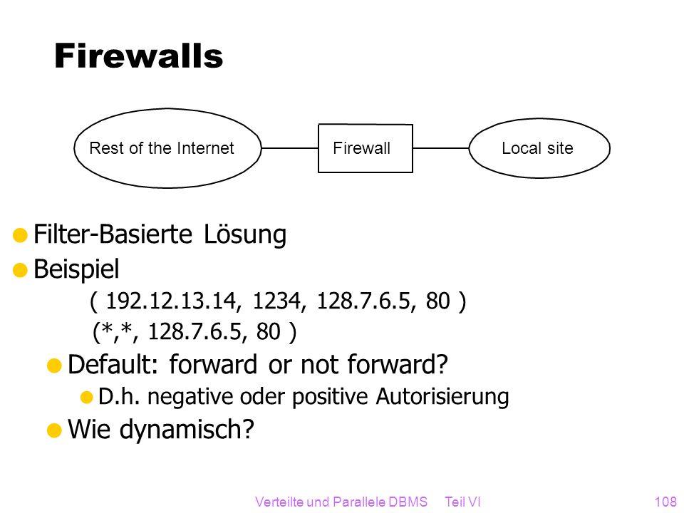 Verteilte und Parallele DBMS Teil VI108 Firewalls Filter-Basierte Lösung Beispiel ( 192.12.13.14, 1234, 128.7.6.5, 80 ) (*,*, 128.7.6.5, 80 ) Default: