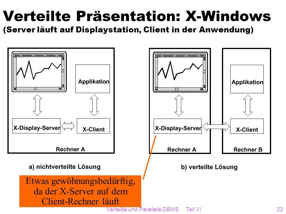 Verteilte und Parallele DBMS Teil VI22 Verteilte Präsentation: X-Windows (Server läuft auf Displaystation, Client in der Anwendung) Etwas gewöhnungsbe