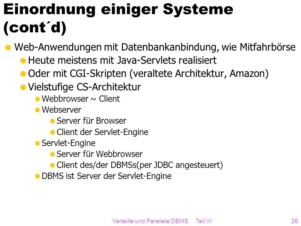Verteilte und Parallele DBMS Teil VI26 Einordnung einiger Systeme (cont´d) Web-Anwendungen mit Datenbankanbindung, wie Mitfahrbörse Heute meistens mit