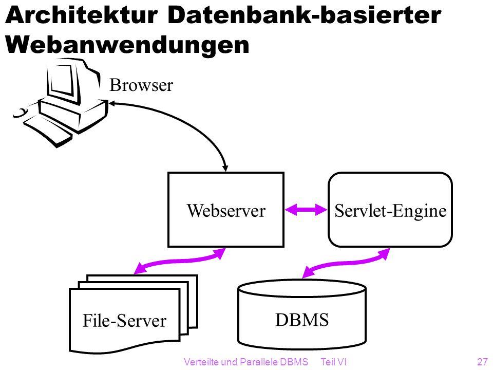 Verteilte und Parallele DBMS Teil VI27 Architektur Datenbank-basierter Webanwendungen DBMS WebserverServlet-Engine Browser File-Server